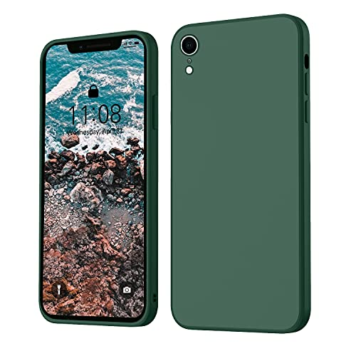 iPhone XR Hülle Silikon Hülle, ORDA Hanyhülle iPhone XR Ultra Dünn Slim mit Microfiber, Kratzfeste R&umschutzHülle Schutzhülle Hülle für iPhone XR 6.1'' Dunkel Grün