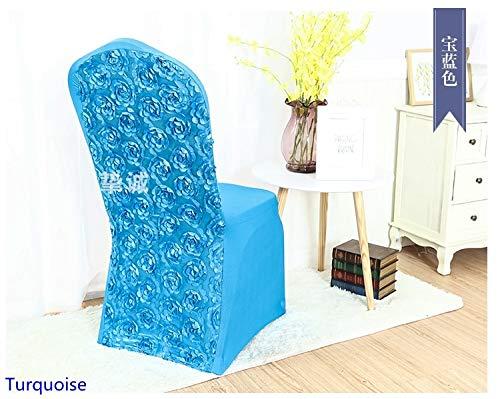 PCSACDF spandex stoelhoezen rozet stoelhoezen roos bloem design voor bruiloftsbankett hotel decoratie FIT ALL CHAIRS turquoise