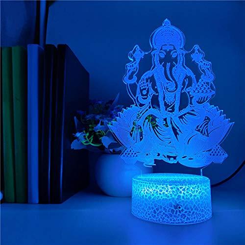 MBFT Lámpara 3D india hindú Ganesha LED Nightlight Home Salón Decoración Holiday Regalos USB Ambiente Lámpara 3D Animación Luz nocturna