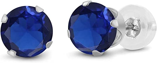 Gem Stone King 14K White Gold Blue Simulated Sapphire Women's Stud Earrings (1.10 cttw, 5MM Round Cut)