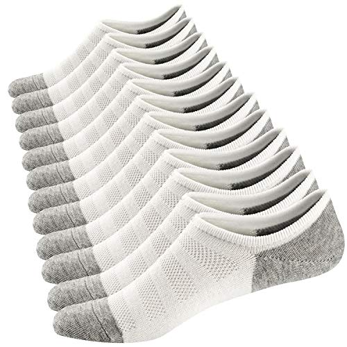 Ueither Homme Chaussettes Basses Respirantes Courtes Socquettes de Sport en Coton Confortable Basiques Chaussettes,6 Paires Blanc,38-44