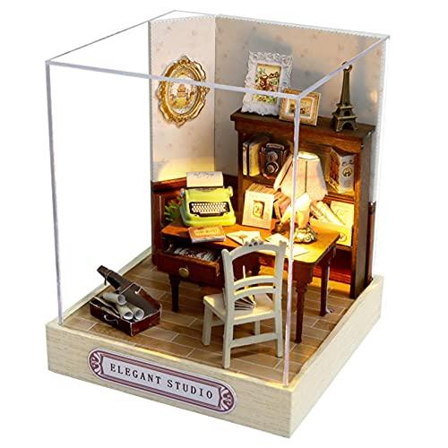 Casa de bonecas de ma deira com móveis, conjunto de casa em miniatura 3D DIY, paisagem em miniatura Artesanato feito à mão com tampa contra poeira, presente de aniversário Decoração de Natal Hallowen