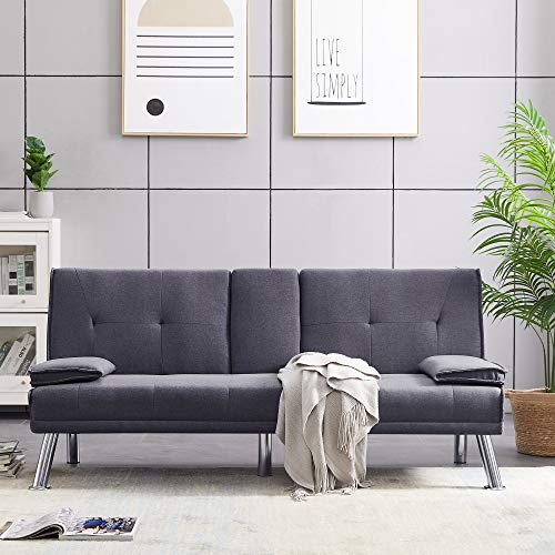 Merax Futon Bed Couch, Modern Sofa Sleeper Design for Living Room or Bedroom, Including Metal Legs and 2 Cup Holders Sofabed, Dark Grey