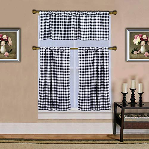 3PCS Black and White Courtyard Grommet Window Curtain Valance, Buffalo Check, Window Valance, for Kitchen,Living Room