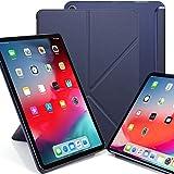KHOMO iPad Pro 12.9 (3 Gen) Funda Origami Semi Transparente con Smart Cover Protección Delantera y Trasera para Nuevo Apple iPad Pro 12.9-2018 - Azul Marino