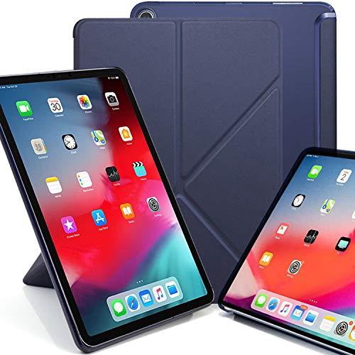 KHOMO iPad Pro 12.9 2018 Smart Cover Schutzhülle mit Halbdurchsichtiger Silikonrückseite und Origami Aufstellungsmöglichkeiten - Dunkelblau