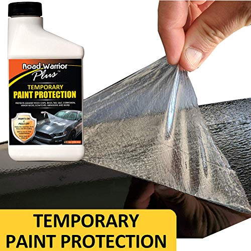 Road Warrior Plus Paint Protection Film - Temporary Roll-On Automotive Exterior Protector from Rocks, Scratch and Chips - Coating Applies White, Dries Clear - 8oz Kit