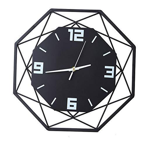 Grande orologio da parete in acciaio al quarzo Moda semplice moderno e creativo arredamento soggiorno camera da letto nordico (senza batteria)(Nero)