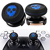 Playrealm FPS Thumbstick Extender & Printing Rubber Silicone Grip Cover 2 Sets for PS5 Dualsenese & PS4 Controller (Ghost Blued)