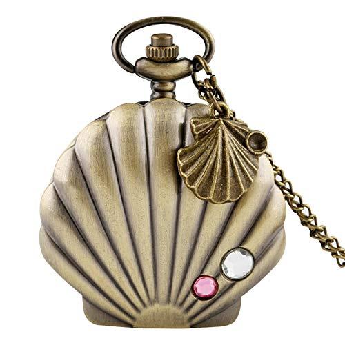 Nuevo Reloj de Bolsillo de Concha de Sirena a la Moda, Estuche de Vieira de Metal Brillante único, Collar con Colgante de Cristal, excelente Reloj + Accesorio de Concha