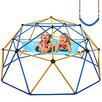 Jugader Upgraded 10FT Climbing Dome with Canopy and Swing Dome Climber for Kids 3 - 10 Weight Capability 800LBS 3-Year Warranty Rust and UV Resistant Steel