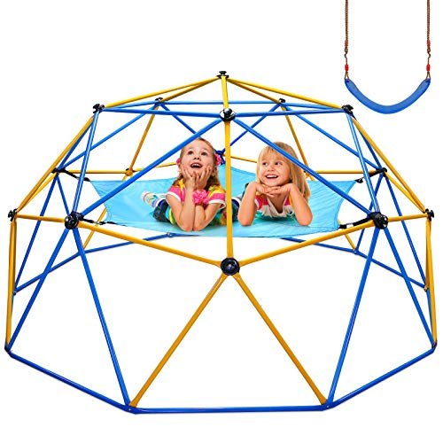 Jugader Upgraded 10FT Climbing Dome with Canopy and Swing, Dome Climber for Kids 3 - 10, Weight Capability 800LBS, 3-Year Warranty, Rust and UV Resistant Steel