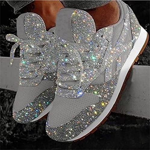 2021 Rhinestone de mujer Nueva plataforma de cristal, zapatillas de deporte de moda, zapatillas de deporte de la plataforma de la plataforma de la cuña brillante, zapatillas de deporte,Plata,42