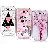 YKTO Coque Samsung Galaxy S3 I9300 2012 Belle Marble Coque Souple[3 Packs] Clair 3D Dessins Silicone Étui Flexible...