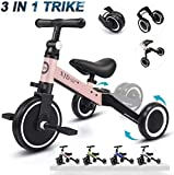XJD 3 en 1 Vélo Draisienne Tricycle pour Enfants de 1-3 Ans Premier Vélo d'Entraînement d'Équilibre Véhicule avec Pédale Cadeau pour Filles Garçons Léger(Rose Clair)