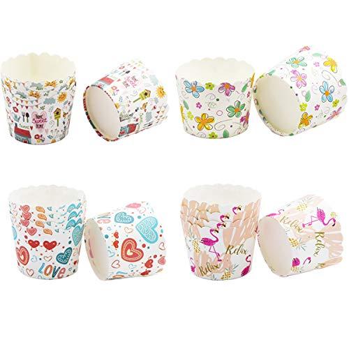 200 Stk Papierkuchen Tasse Papier Cupcake Backformen Liner Muffin Hohe Temperaturbeständige Backen Tassen Dessert Cases Cupcake Wrappers für Backtage, Geburtstage, Teekränzchen, Hochzeiten und Partys