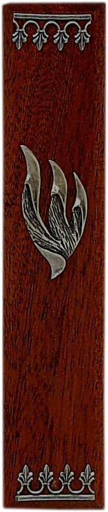 Judaica Max 70% OFF Dark Brown Wood Metal Mezuzah Israe Sheen excellence with Made in