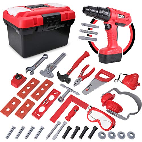 D-FantiX Kids Tool Set, 36 Pcs Pretend Play STEM Toys Construction Tool Kit Playset Plastic Hand Power Tool Box with Electronic Drill for Toddlers Boys and Girls Ages 2, 3, 4, 5, 6, 7 Years Old