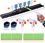 Masefu Longer Moving Shooting Target with 2 Dart Guns for Nerf Guns, Electronic Scoring Auto Reset Digital Target Toy with 40 Darts, 2 Dart Belts, 3 Speed Modes, Boredom Killer Gift for Kids Adults