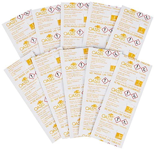 Oasis 100 tabletas de Purificación de Agua (10 Tiras Sueltas en una Bolsa de plástico)