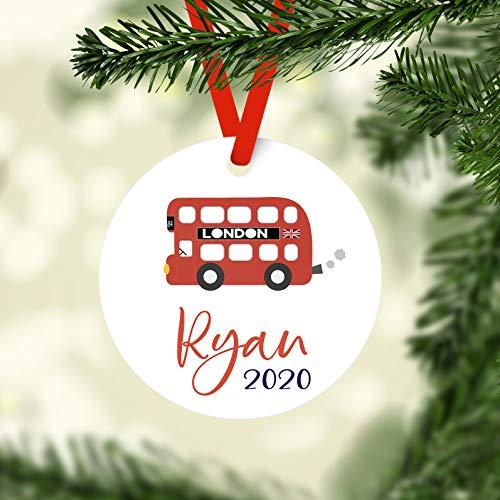 DKISEE London Bus Gepersonaliseerde Kerst Keramiek Ornament, Gepersonaliseerde Children's Keramiek Ornament, Aangepaste Kerst Keramiek Ornament, Kid Kerst Keramiek Ornament 3.1 inch