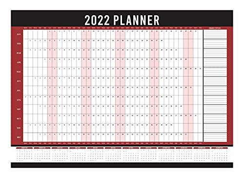 2022 Wall Planner A1 Size Year Calendar Organiser Runs Jan To Dec Student Academic School Study Office Work Home Family Yearly Planning Annual Poster Full Year Chart (Folded)