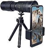 YUIOLIL Regalo 4K 10-300X40mm Super Teleobjetivo Zoom Monocular Telescopio, Monocular de visión Nocturna Impermeable a Prueba de Niebla con Soporte para teléfono Inteligente y trípode