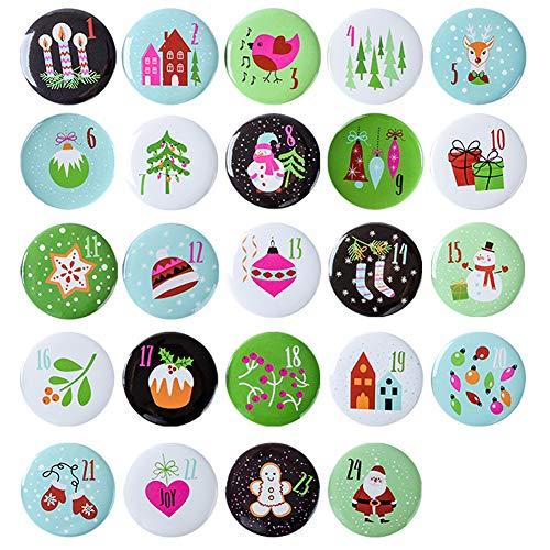 Gallop Chic Niedliche Adventskalender-Zahlen Buttons Anstecker: Grün, (Ø 37 mm) Nummern Button Zahlen 1 bis 24 zum Verzieren von Weihnachtskalendern-Säckchen