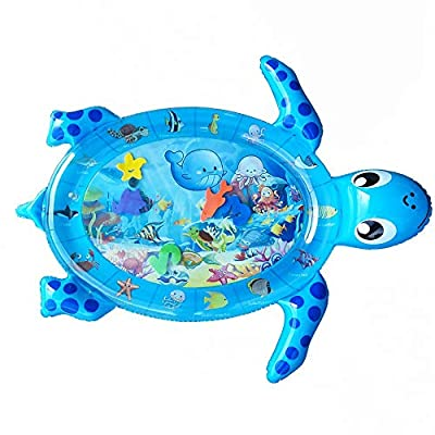 COALA HOLA Tummy Time Baby Water Mat Inflatable Infant Play Mat for 3-9 Months Newborn Boy Girl-Sea Turtle Shape