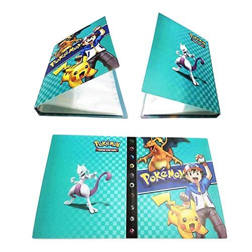 Porte Cartes Pokemon Album Album Classeur Livre 30 Pages Capacité de 240 Cartes (Frêne Bleu)