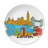 Plato de postre de porcelana decorativo, diseño de Londres del Reino Unido, 20,3 cm