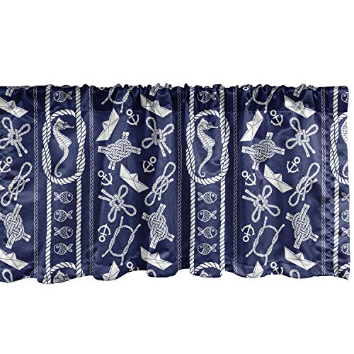"""Lunarable Nautical Window Valance, Seahorse Vertical Design Swimming Vacation Paper Sailboat Silhouette Travel, Curtain Valance for Kitchen Bedroom Decor with Rod Pocket, 54"""" X 12"""", Blue White"""