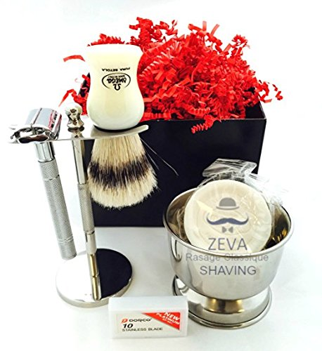 Deluxe Wet Shave Kit | Includes 6 Items: Safety Razor, Badger Hair...