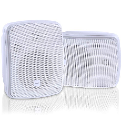 Pyle Bluetooth Dual 5.25'' Wall-Mount Marine Speakers Active Powered System Indoor/Outdoor Water & Weather Resistant 2-Way Full Range Stereo Sound Gold Plated Post 800 Watt White (PDWR55BTRFW)