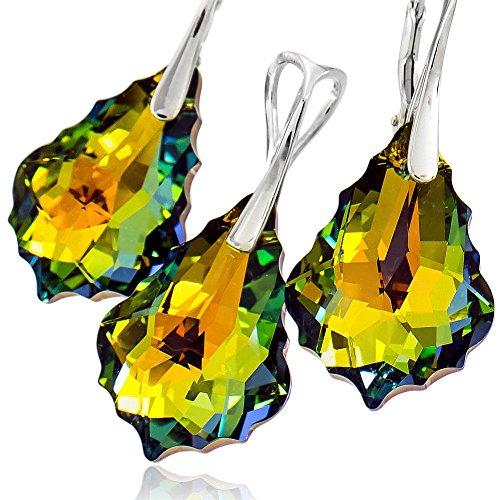 Pendientes de cristal de Swarovski, diseño barroco, plata de ley 925