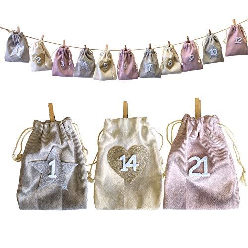 Adventskalender zakje om zelf te vullen, 24 zakken (grijs, beige, roze) met klemmen aan snoer L 2,6 m, kerstkalender om op te hangen