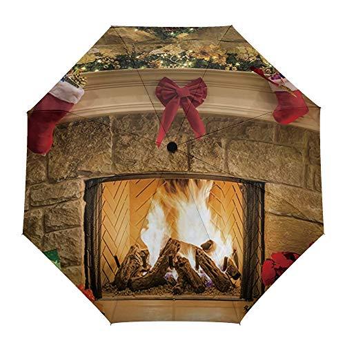 Faltbarer Reise-Regenschirm, Weihnachtsabend, Kamin, Geschenk, automatisches Öffnen/Schließen, kompakter, winddichter Regenschirm für Mädchen/Frauen/Erwachsene