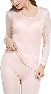 Fashion Silk Women's Thermal Underwear Sets Mulberry Silk Crewneck Long Johns for Women Base Layer