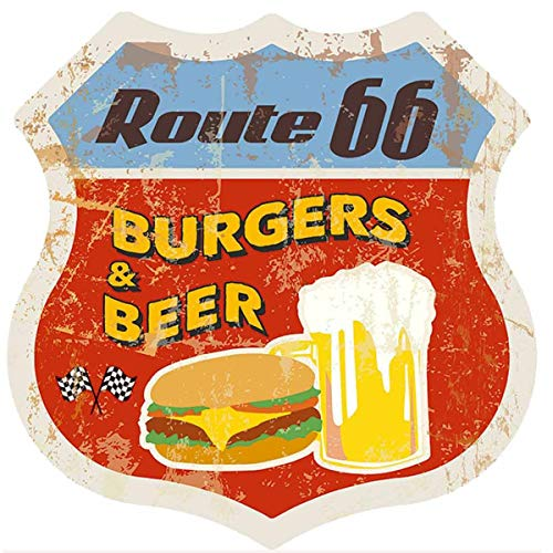HANTAJANSS Burgers & Beer Metal Signs Vintage Shield Signs for Snackery, Fast Food Restaurant, Bar, Home Decoration 12 Inches