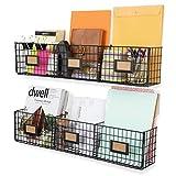 Wall35 Amalfi Hanging File Folders Office Desk Organizer Wall Mount Wire Basket Storage Magazine Holder 3 Sectional Set of 2 Black