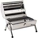TecTake <span class='highlight'>BBQ</span> <span class='highlight'>Grill</span> portable rust-free stainless steel 2 <span class='highlight'>grill</span> areas charcoal <span class='highlight'>barbecue</span> silver