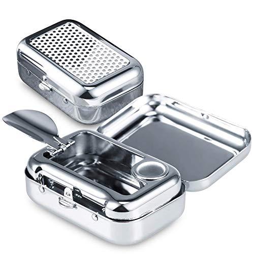 JPYH-EU Taschenascher eckig aus Metall 60 x 53 x 20 mm mit Laser-Motiv Chrome glänzend Reiseaschenbecher für die Handtasche - geruchloser Ascher