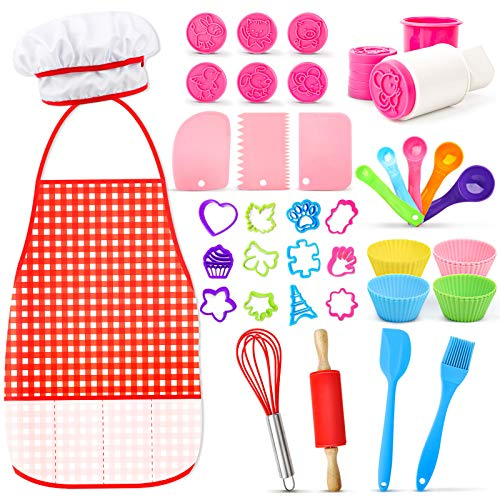 Kids Baking Sets with Chef Hat and Apron, 44 PCS Chef Costume Dress UP Pretend Role Play Set Toddler Toys for Girls Boys Age 3-8