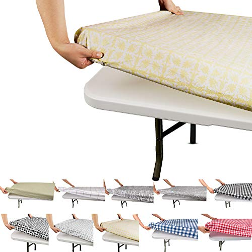Tablecloth for Folding Table -Fitted Rectangular Table Cloth for 9 Foot – Size 36 x 107 inch - (90 x 274 cm), Plastic Vinyl Flannel Backed with Elastic Rim- for Christmas|Parties, Waterproof