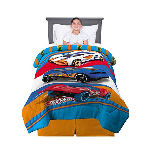 "Franco Kids Bedding Super Soft Reversible Comforter, Twin/Full Size 72"" x 86"", Hot Wheels"