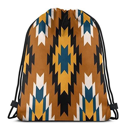 XCNGG Bolsa de gimnasia Bolsa con cordón Bolsa de viaje Bolsa de deporte Mochila escolar MochilaNavajo Aztec Tribal Patterns Gym Bag Travel Drawstring Backpack Men & Women Sport Bag Portable Storage B