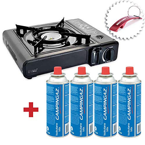 Bricolemar Hornillo a Gas Butano Portátil GSC Evolution + 4 Cartuchos CP250 Compatibles Campingaz + Llavero Regalo!