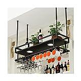 LWZ Soporte para Copas de Vino Colgante de Metal, estantes de Vino Colgantes de Techo Vintage para Botellas de Vino y Vasos, Estante para Copas de Montaje en Pared