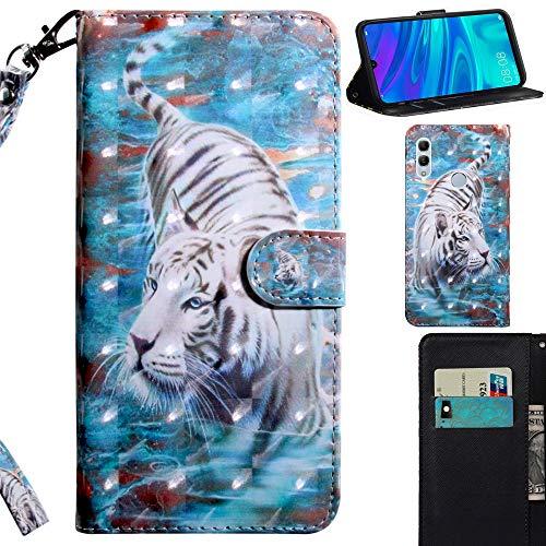 DodoBuy 3D Hülle für Huawei Y6 2019/Honor 8A, Flip PU Leder Schutzhülle Handy Tasche Brieftasche Wallet Hülle Cover Ständer mit Kartenfächer Trageschlaufe Magnetverschluss - Weiß Tiger