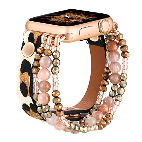 fastgo Leather Leopard Band Compatible with Apple Watch 44mm 42mm Women Girls, Furry Leopard Elastic Cheetah Printed Beaded Bracelet Strap for Iwatch Series SE & 6 5 4 3 2 1 (Cheetah, 42mm/44mm)